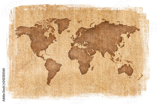 World map layered over a textured burlap background with antique finish and white edges. Tan and brown neutral colors. © CaptureAndCompose