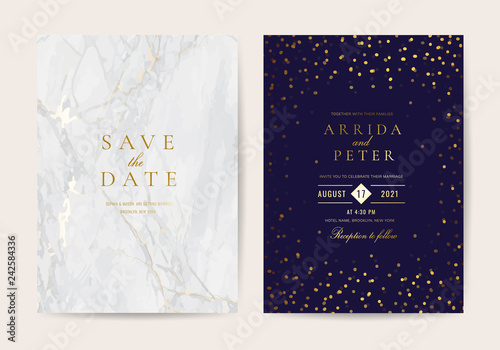 Fototapeta Luxurious Wedding Invitation Cards With Marble And Golden Texture Background Vector