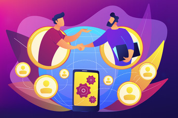 Businessmen handshaking through smartphone. Mobile collaboration, collaborative tools and mobile teamwork, mobile and innovative networking concept. Bright vibrant violet vector isolated illustration