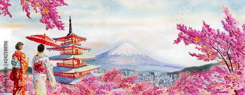 Famous landmarks of Japan in spring. © Painterstock