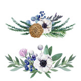 floral watercolor arrangement, hand drawn illustration - 242588758
