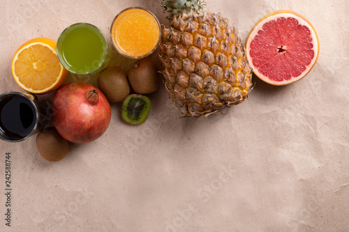 food photo, summer fruits, top view