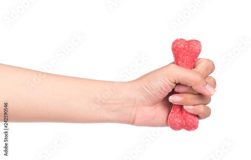 hand holding Dog bone isolated on white background