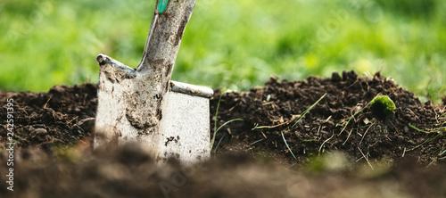 Header, Schaufel oder Spaten steckt in Erde, Gartenarbeit und Gärtner Hintergrund - 242591395