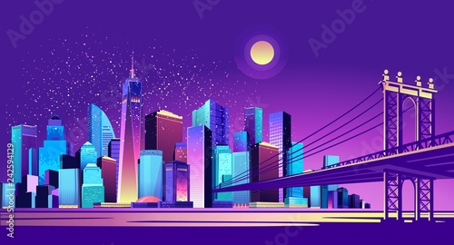 abstract neon city - 242594129