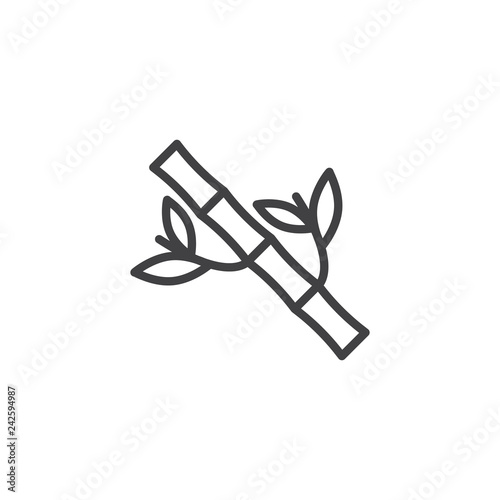Bamboo tree with leaves line icon. linear style sign for mobile concept and web design. Branch of bamboo outline vector icon. Symbol, logo illustration. Pixel perfect vector graphics