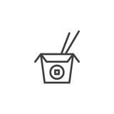 Noodles box with Chopsticks line icon. linear style sign for mobile concept and web design. Chinese food outline vector icon. Symbol, logo illustration. Pixel perfect vector graphics