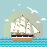 Sailboat illustration. Cartoon sea landscape vector - 242596707