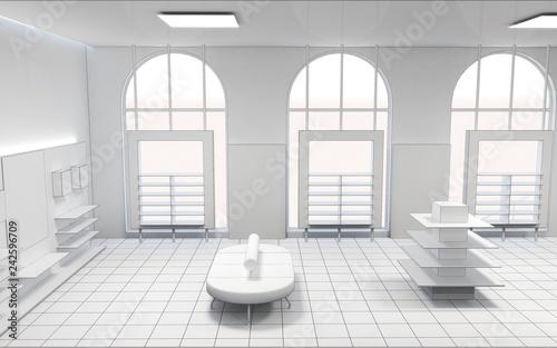 shop, mall, shopping mall, interior visualization, 3D illustration