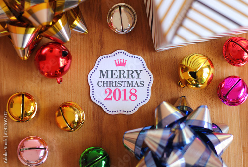 Merry Christmas card with colorful decoration.