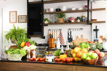 Interiors design of kitchen  with some vegetables and fruits © amenic181