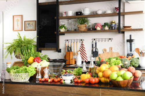 Interiors design of kitchen with some vegetables and fruits