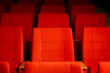 Empty Row of Seats in Cinema Theatre Before Show