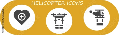 Vector icons pack of 3 filled helicopter icons