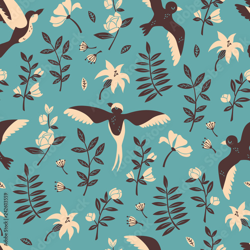Печать Floral Seamless Pattern with Flying Birds. Vector Hand Drawn Pattern. - 242603559