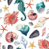 Watercolor sea life pattern - 242603988