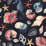 Watercolor sea life pattern - 242604192