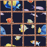 Watercolor sea life pattern - 242607517