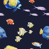 Watercolor sea life pattern - 242607555