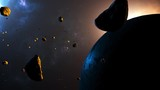 Animation of flying through asteroid filed in space surround a planet. - 242611198