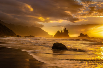 beautiful sea landscape, sunset over the atlantic beach,Benijo beach, Tenerife © Mike Mareen