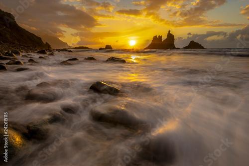 beautiful sea landscape, sunset over the atlantic beach