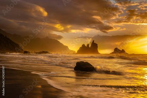 beautiful sea landscape, sunset over the atlantic beach,Benijo beach, Tenerife