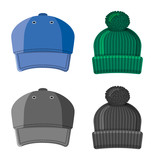Isolated object of headgear and cap symbol. Set of headgear and accessory stock symbol for web.