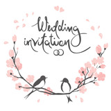 Wedding invitation, crad. Vector illustration, swallows on a flowering cherry branch - 242616587