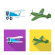 Isolated object of plane and transport logo. Collection of plane and sky stock vector illustration.