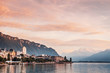 Cityscape and lake Geneva in Montreux with Swiss Alps view