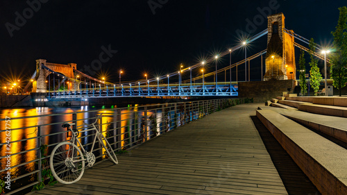 obraz PCV Wroclaw city at night, Grunwaldzki Bridge, Poland, Europe