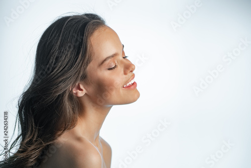 Girl with clean skin and natural smile