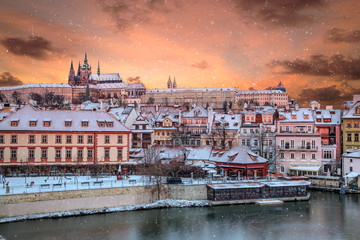 Prague Castle and Old Town at winter, Czech Republic.