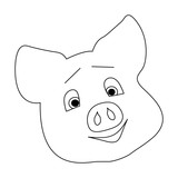 Envy and cunning on the face of a pig. The head of a pig with a smirk. Frowning eyebrows. Template for design. Vector.