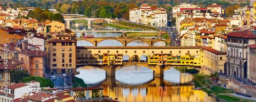 Leinwandbild Motiv City view with Ponte Vecchio, Florence, Italy