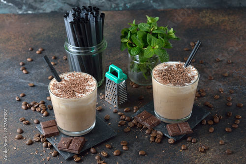 Cold coffee latte with chocolate