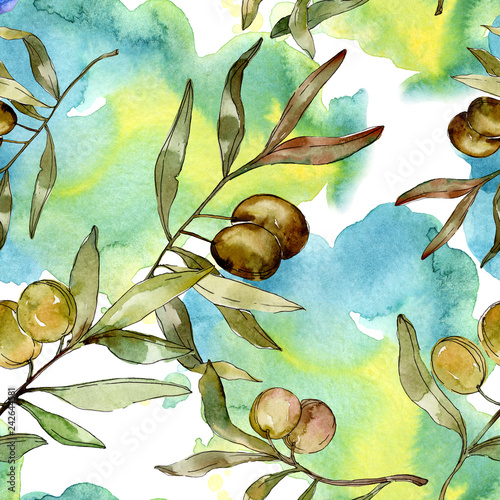 Green olives watercolor illustration. Watercolour green leaf seamless background pattern. Fabric wallpaper print texture