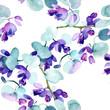 Leinwanddruck Bild - Bouquet flowers. Watercolor background. Watercolour drawing seamless background pattern. Fabric wallpaper print texture.