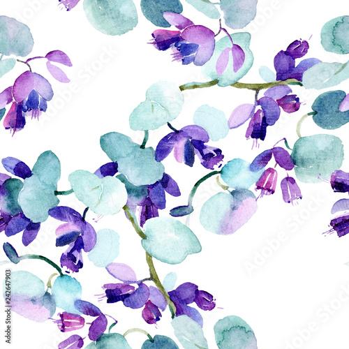 Leinwanddruck Bild Bouquet flowers. Watercolor background. Watercolour drawing seamless background pattern. Fabric wallpaper print texture.