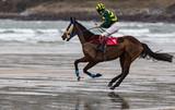 Race horse and jockey galloping on wet sand beach