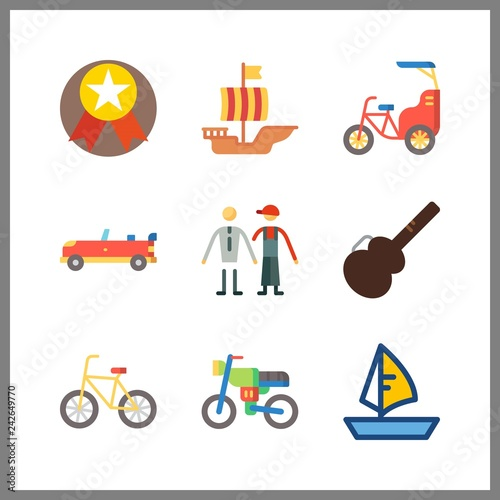 9 race icon. Vector illustration race set. sport car and sailing boat icons for race works - 242649770
