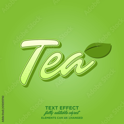 Tea text in cartoon style