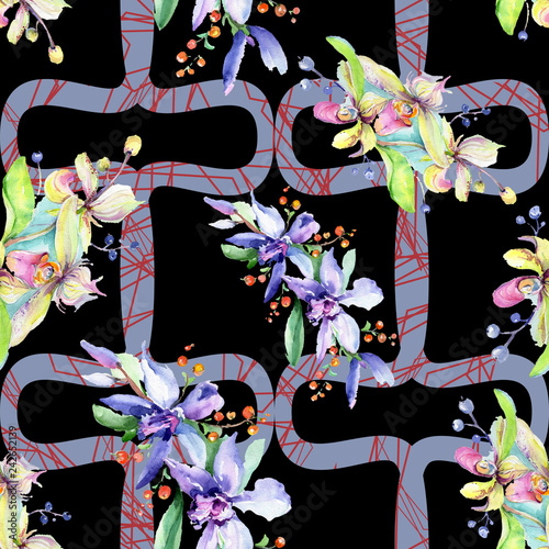 Pink and purple orchid flower. Watercolour drawing fashion aquarelle isolated. Seamless background pattern. - 242652139