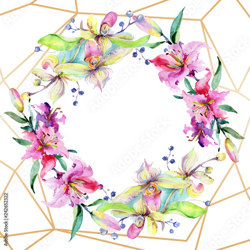 Pink and purple orchid flower. Watercolour drawing fashion aquarelle isolated. Frame border ornament square.