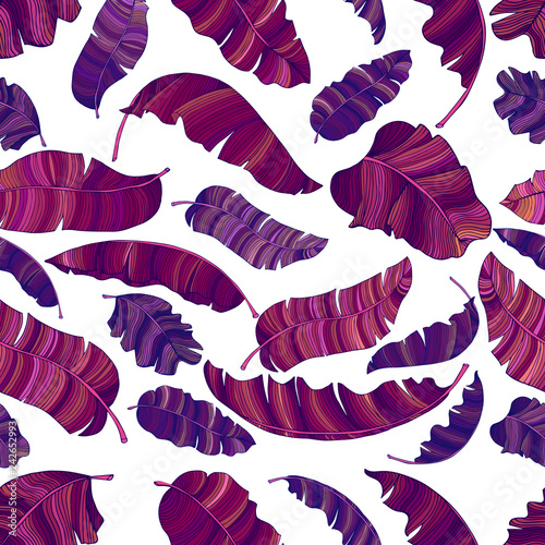 A seamless pattern of exotic, vibrant purple leaves of a banana. © Natalia Remzhyna