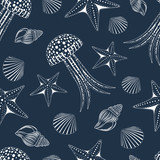 Seamless texture with the image of white jellyfish, seashells, starfish on a dark blue background.