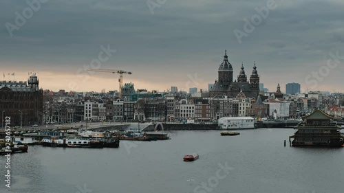 Panorama on boat dock harbour and city center of Amsterdam, Netherlands