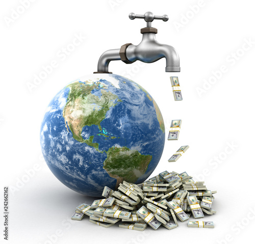 3d Globe and faucet with Dollars. Image with clipping path - 242662162