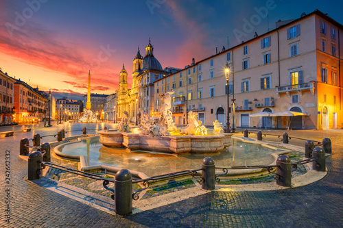 Rome. Cityscape image of Navona Square, Rome with Fountain of Neptune during beautiful sunrise. - 242662332
